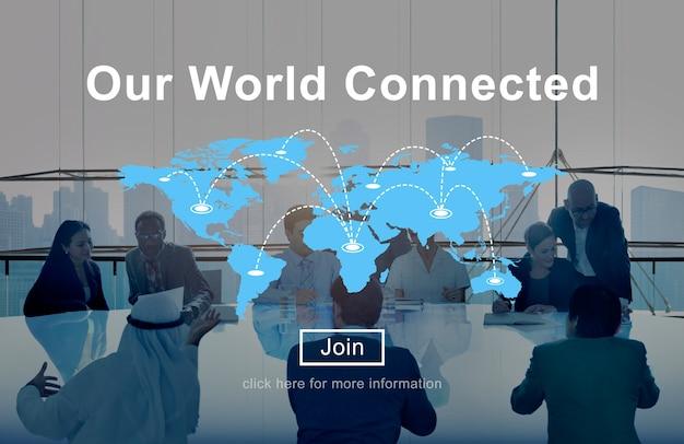 Nosso conceito de interconexão de redes sociais conectadas no mundo Foto gratuita