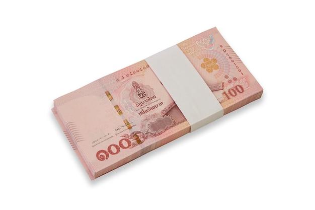 Notas da tailândia em fundo branco Foto Premium