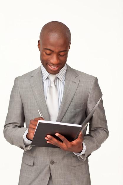 Notas de escrita atraente empresário Foto Premium
