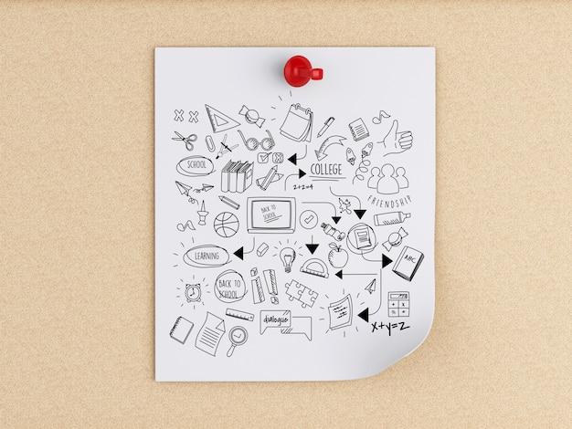 Notas de post-it 3d com esboço de educação sobre placa de cortiça Foto Premium