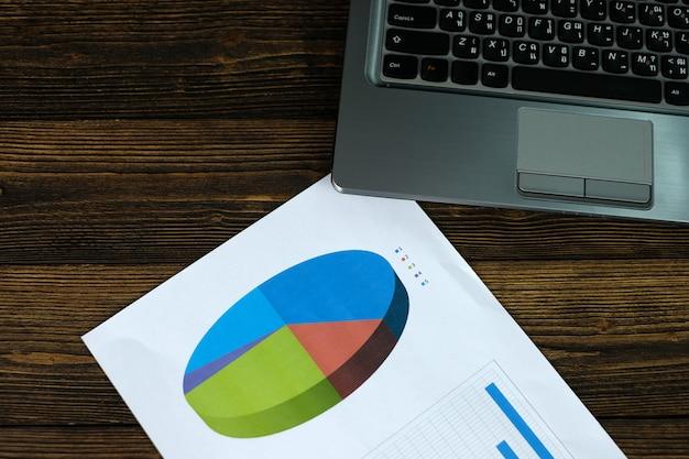 Notebook laptop computador e gráfico financeiro em papel branco Foto Premium