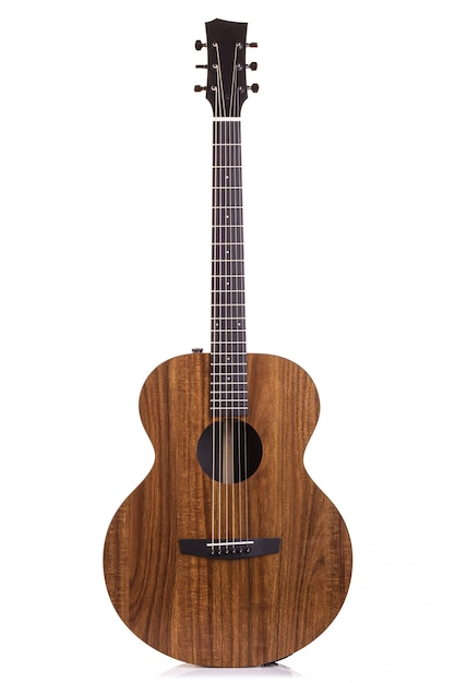 Nova guitarra marrom isolada no branco Foto Premium