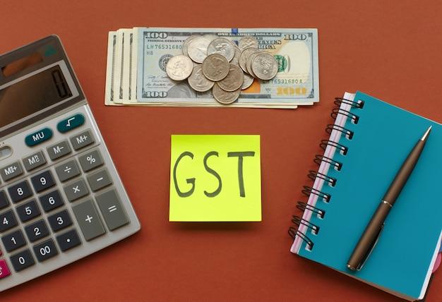 Nova moeda e imposto sobre bens e serviços, imposto gst Foto Premium