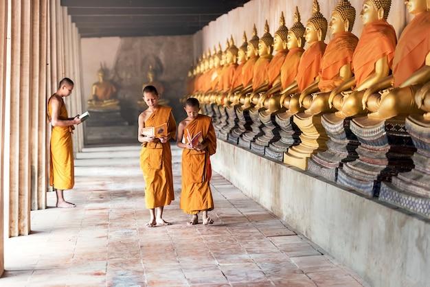 Noviços tailandeses no templo no parque histórico de ayutthaya, tailândia Foto Premium