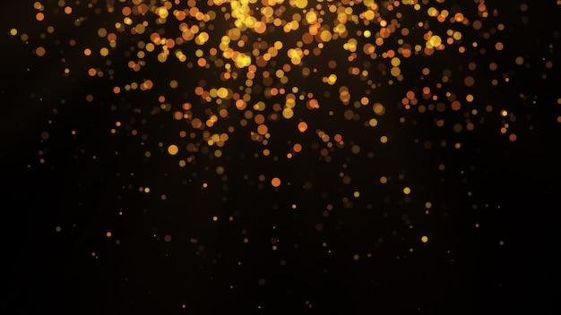 Novo ano 2020. fundo de bokeh. resumo de luzes. cenário de feliz natal. luz de glitter dourados. partículas desfocadas. isolado no preto sobreposição. cor dourada, top Foto Premium