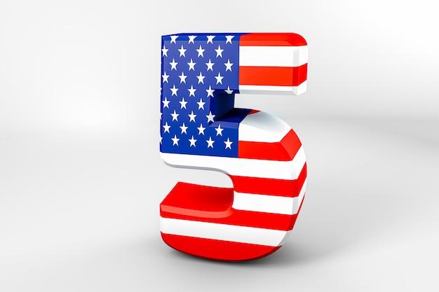 Número 5 com a bandeira americana. renderização 3d - ilustração Foto Premium