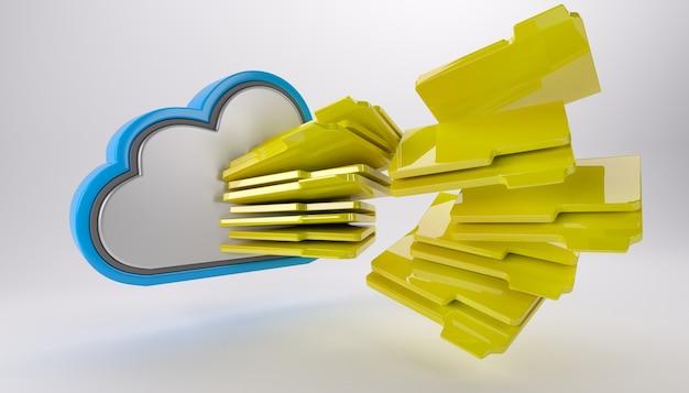 Nuvem com muitas pastas Foto gratuita