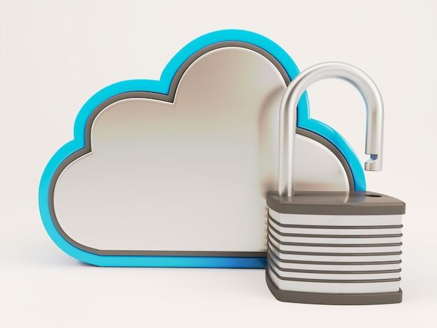 Nuvem com um cadeado aberto Foto gratuita
