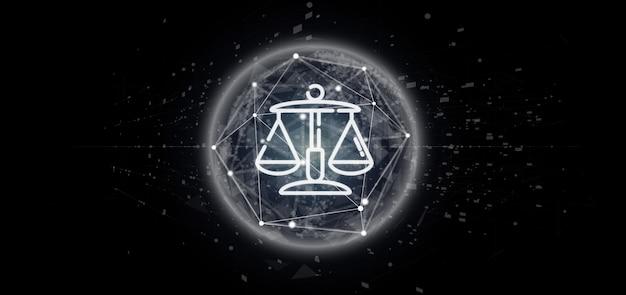 Nuvem de justiça e direito ícone bolha com renderização de dados 3d Foto Premium