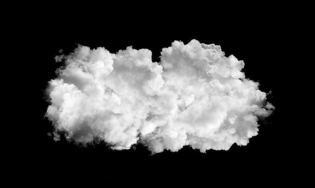 Nuvens brancas isoladas em fundo preto Foto Premium