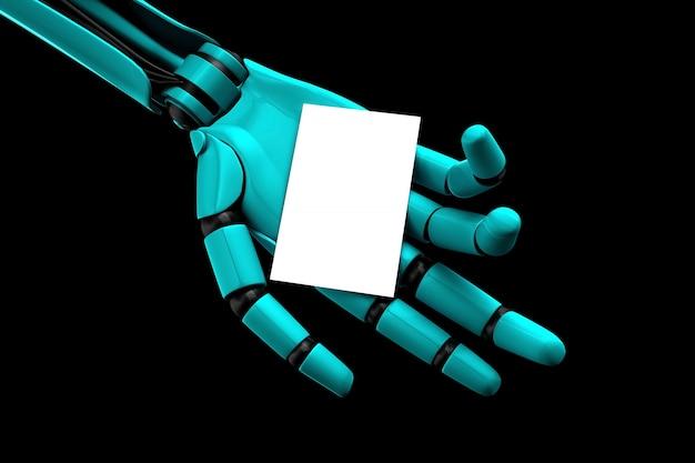 O braço do robô alimentando um cartão de visita em branco Foto Premium