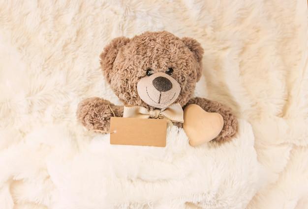 O brinquedo das crianças dorme debaixo do cobertor. copie o espaço. foco seletivo. Foto Premium