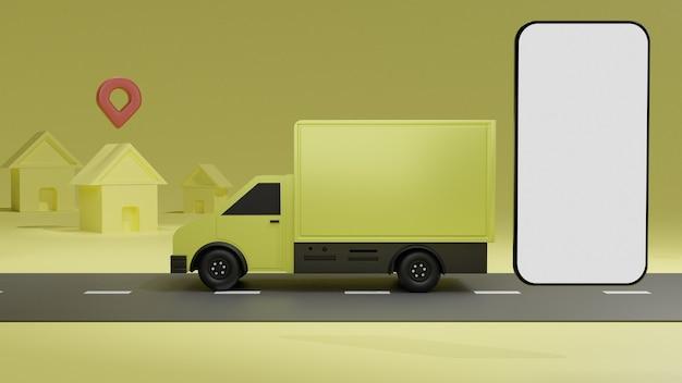 O caminhão amarelo com tela branca maquete de telefone móvel, sobre fundo amarelo entrega de pedidos Foto Premium