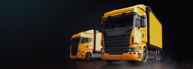 O caminhão está em um preto. Foto Premium