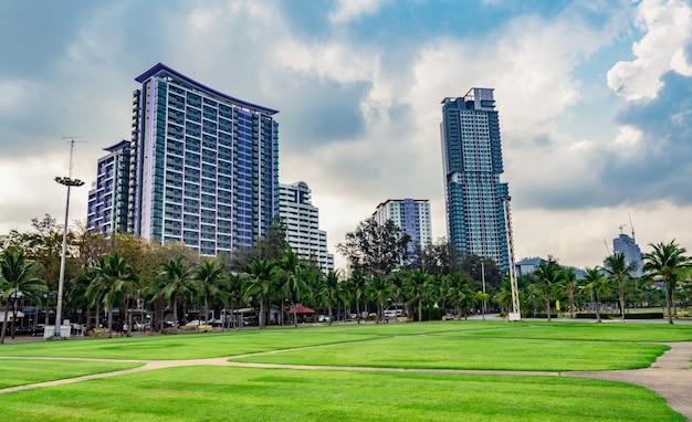 O campo de grama verde, a estrada pedestre e as árvores de coco na cidade estacionam ao lado do mar. fundo de construção moderna Foto Premium