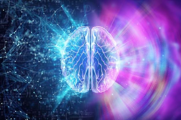 O cérebro humano em um fundo azul, o hemisfério é responsável pela lógica Foto Premium