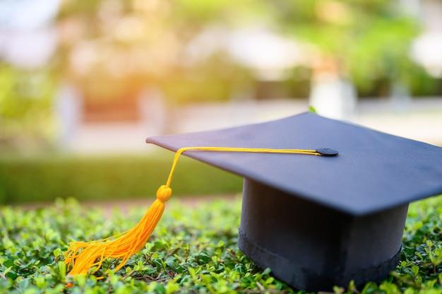 O chapéu preto de graduados universitários é colocado em folhas verdes. Foto Premium