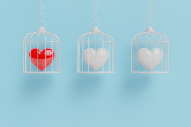 O coração está preso em uma gaiola. o conceito de amor e diferença 3d render. Foto Premium