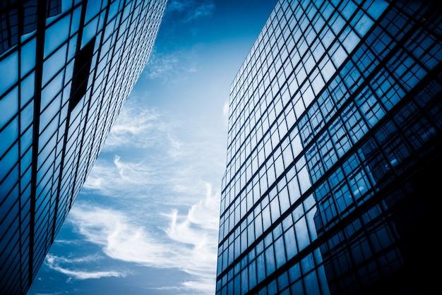O edifício moderno da cidade em hong kong desde o ângulo de visão Foto Premium
