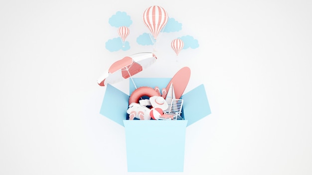 O equipamento do jogo da água na caixa azul e no balão no fundo branco - ilustração 3d Foto Premium