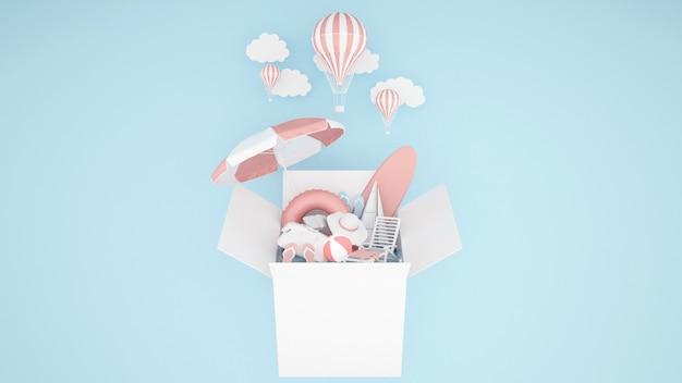 O equipamento do jogo da água na caixa e balão no fundo azul - ilustração 3d Foto Premium