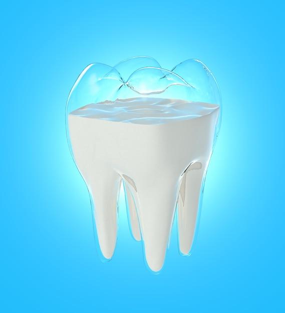 O fluxo do leite muda para a forma dos dentes, conceito de força da bebida Foto Premium