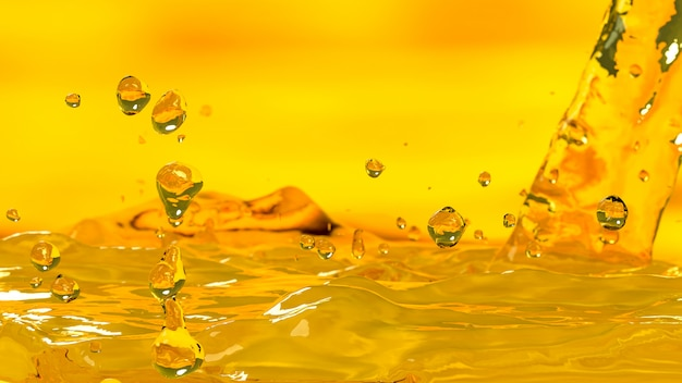 O foco seletivo de derramamento da cor do ouro do motor do carro de óleo, 3d rende. Foto Premium