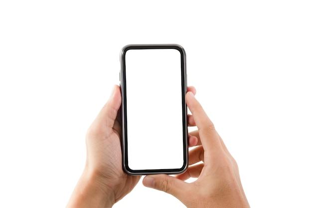 O formulário em branco do quadro do smartphone na mão com fundo branco para adiciona o molde infographic ou a apresentação e a propaganda. tecnologia e objeto com traçado de recorte. Foto Premium