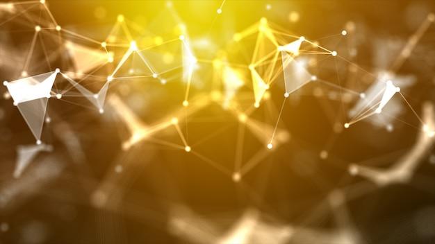 O fundo abstrato dot e conecta a linha para o futurista da tecnologia do cyber e o wireframe do conceito da conexão de rede Foto Premium