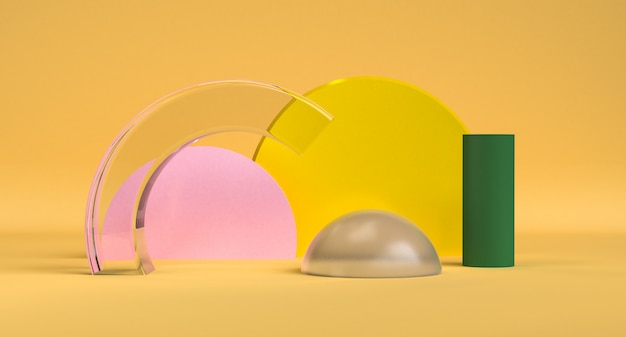 O fundo abstrato minimalista da forma geométrica bonita, 3d rende. Foto Premium