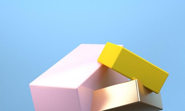 O fundo abstrato minimalista, figuras geométricas primitivas, 3d rende. Foto Premium