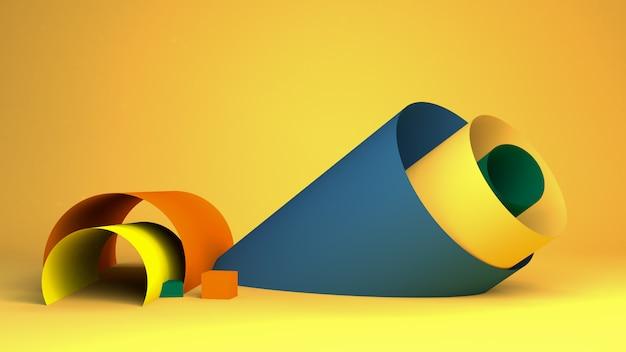 O fundo abstrato minimalista, figuras geométricas primitivas, cores pastel, 3d rende. Foto Premium