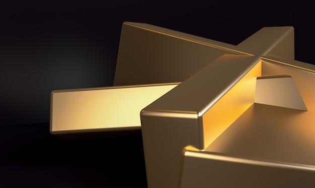 O fundo abstrato minimalista, figuras geométricas primitivas do ouro, 3d rende. Foto Premium