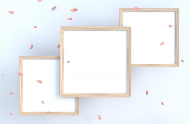 O fundo branco com moldura para retrato e o rosa do sopro sae, ramifica. Foto Premium