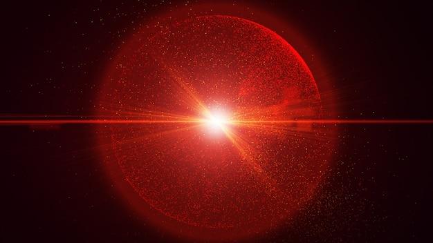 O fundo preto tem uma pequena partícula de poeira vermelha que brilha em um movimento circular, feixe de raio de luz de explosão. Foto Premium