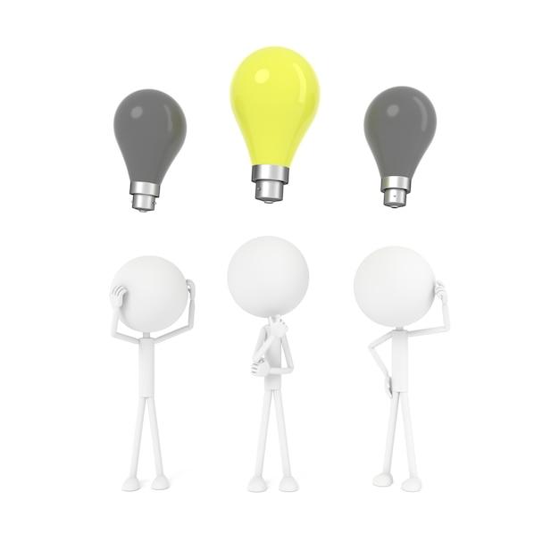 O homem que pensa e tem o conceito de idéia. renderização em 3d. Foto Premium
