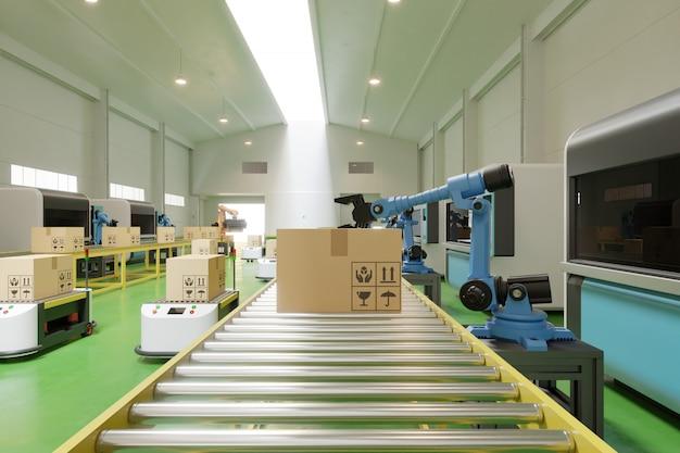 O interior do armazém no centro logístico possui o braço agv / robot. Foto gratuita