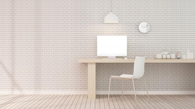 O interior do hotel relaxar espaço renderização em 3d na parede de tijolo do hotel Foto Premium
