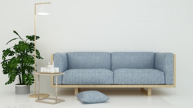 O interior relaxar espaço renderização em 3d e fundo branco mínimo Foto Premium