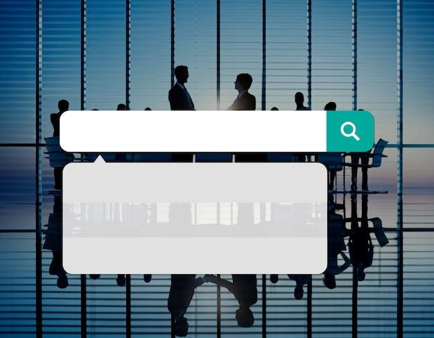 O internet da tecnologia da caixa da busca consulta o conceito em linha da consultação Foto gratuita