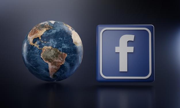 O logotipo do facebook ao lado da terra rende. Foto Premium