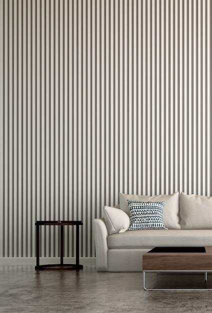 O luxuoso design minimalista da sala de estar e a parede com textura de azulejos pintados de branco Foto Premium