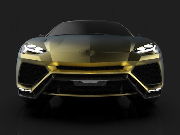 O mais novo crossover premium esportivo em ouro, com tração nas rodas, em estúdio preto com piso refletivo Foto Premium