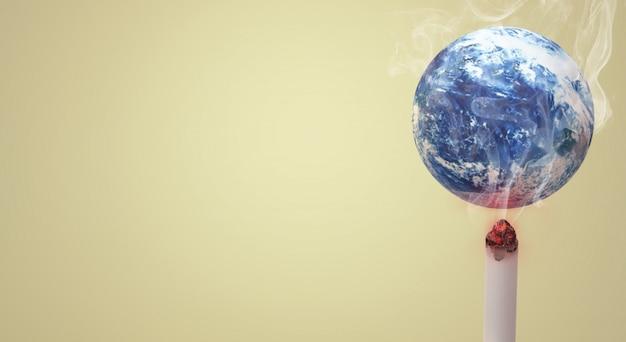 O mundo da rendição 3d nenhum fundo da imagem do dia do cigarro. Foto Premium