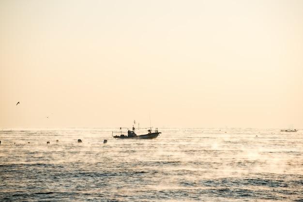 O navio com carga completa de peixes e gaivotas no mar Foto Premium