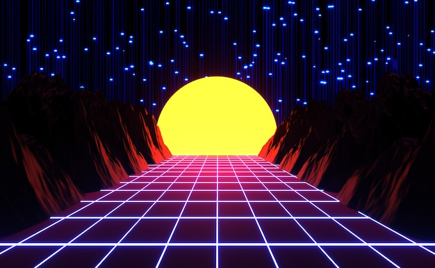 O néon 80s denominado, jogo retro do vintage e paisagem da música, luzes e rendição das montanhas 3d. Foto Premium
