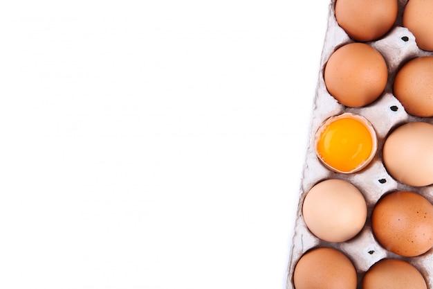O ovo da galinha é meio quebrado entre outros ovos. Foto Premium