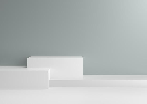 O pódio nos esquemas de cores de relaxamento da hortelã fresca abstrata, 3d rende. Foto Premium