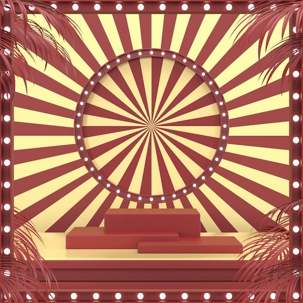 O projeto geométrico abstrato do carnaval da forma para o pódio 3d da exposição do cosmético ou do produto rende. Foto Premium