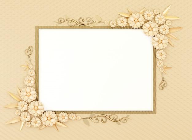 O quadro pastel da beira do cartão vazio da configuração do plano do objeto com decoração da flor, 3d rende. Foto Premium